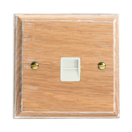 Varilight XKTSLOW Kilnwood Limed Oak 1 Gang Telephone Slave (Extension) Socket